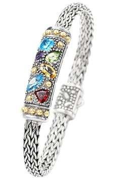 Multi Gemstone Sterling Silver Woven Bracelet with 18K Gold Accents | Cirque Jewels