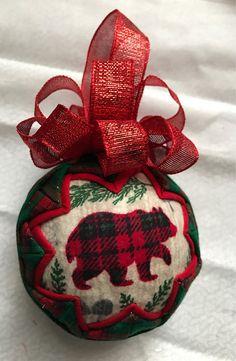 Woodlands Lodge Canin fabric ornament - bear, deer, squirrel by WreathsByKari on Etsy Fabric Christmas Decorations, Quilted Christmas Ornaments, Beaded Ornaments, Ball Ornaments, Handmade Christmas, Christmas Crafts, Xmas Baubles, Ornaments Ideas, Christmas Balls