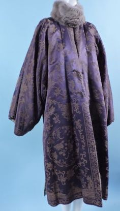 1920's Chinese Brocade Silk Coat. FULLY BATTED INTERIOR WITH INSIDE LINED IN PANELS OF CHINCHILLA FUR. Front