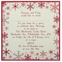 Flat square Snowflake wedding invitation invite sample £1.75