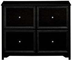 Oxford 37 Inch Black Four Drawer File Cabinet, 4 DRWR CHEST, BLACK Home