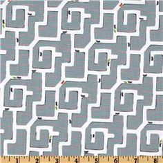 Michael Miller Backyard Baby Ant Maze Gray - FQ - 8/12 - washed - Whipstitch