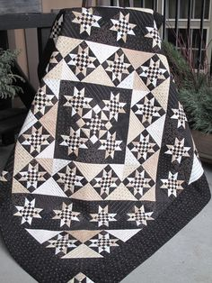 Love the way the lights and darks of the blocks are reversed in bands around the center to form a medallion and borders. hollyhillquilts