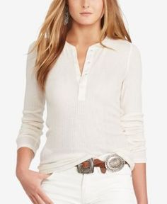 Polo Ralph Lauren Slim-Fit Ribbed Henley - Nevis L Ralph Lauren France, Polo Ralph Lauren, Ralph Lauren Slim Fit, Ralph Lauren Long Sleeve, Long Sleeve Tops, Long Sleeve Shirts, Stylish Tops, Designing Women, Top Sales