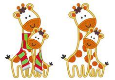 Giraffes  big/little/sister/brother machine embroidery by artapli, $3.49