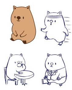 Entry by for Who can draw the cutest Wombat character, or something there like? Wombat Pictures, Cute Wombat, Zoo Drawing, Kindness Rocks, Drawing Lessons, Art Activities, Cute Illustration, Rock Painting, Cute Drawings