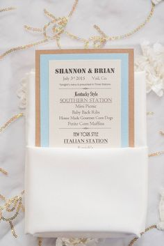 """We love these photos by Julie Afflerbaugh Photography of Shannon & Brian's wedding in Vail this July featuring our beautiful """"Peony"""" overlay linen in Ivory-Gold. Definitely adds a soft floral touch to their natural-inspired event design accented by blues and soft pinks next to our classic Duchess Satin in White. https://www.facebook.com/MileHighCelebrations/posts/942684902473371 — at Donovan Pavilion.(964×1444)"""
