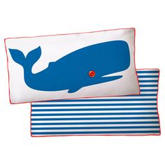 """Striped cotton canvas pillow with a whale motif.    Product: PillowConstruction Material: Cotton canvas cover and polyester fillColor: Blue and whiteFeatures:  Insert includedZipper closure Made in the USADimensions: 11"""" x 21""""Note: Includes one pillow. Image depicts front and back of pillow.  Cleaning and Care: Hand wash or machine wash cold"""