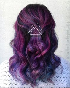 Hair dyed shades of purple, so pretty! Cute trick with the bobby pins too.