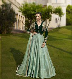 Green Velvet Floor Length Anarkali Suit 67960