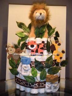Homemade Jungle Diaper Cake... This website is the Pinterest of diaper cake ideas