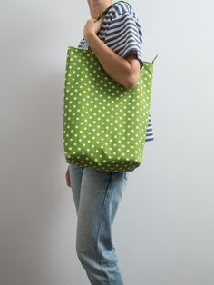 Funny Tote Bright Green Cotton Tote Bag Large Bag Geometric Print Every Day Bag…