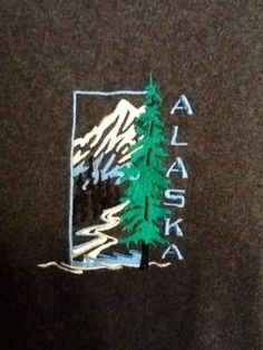 Embroidered ALASKA T-Shirt Men's L Hanes Grey Tagless Mountain Trees Stream Sold $8.49