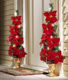 Lighted Flat Back Poinsettia Tree Decoration Christmas Holiday Yard Decor NEW Christmas Front Doors, Christmas Porch, Noel Christmas, Outdoor Christmas Decorations, Christmas Centerpieces, Christmas Wreaths, Christmas Ornaments, Christmas Candle, Christmas Store