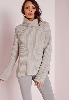 afd449f67a Missguided - Chunky Roll Neck Jumper Grey Roll Neck Jumpers