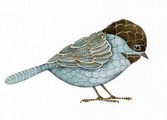 Print Fine Art Illustration Limited Edition - Bird Art - Bird - Original Watercolor Painting by Lorisworld Watercolor Projects, Watercolor Paintings, Zentangle, Bird Illustration, Bird Drawings, Gravure, Bird Prints, Bird Art, Lovers Art