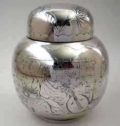 JB & SM Knowles sterling silver tea caddy in a japonesque design - Providence, (vincentcallahan) Shell, Urn Vase, Tea Canisters, Tea Caddy, Butterfly Flowers, Chinoiserie, Precious Metals, Vintage Furniture, Metal Working