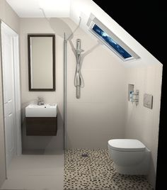 76 Amazing Modern Bathroom Design Ideas Modern bathrooms create a simplistic and clean feeling. In order to design your modern bathroom make sure to utilize geometric shapes and patterns, clean lines, minimal colours and mid-century Attic Shower, Small Attic Bathroom, Wet Room Bathroom, Small Shower Room, Upstairs Bathrooms, Simple Bathroom, Modern Bathroom Design, Modern Bathrooms, Dream Bathrooms