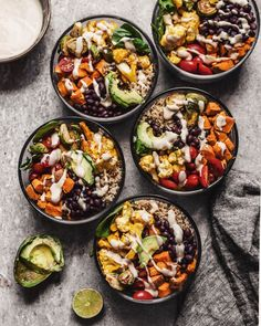 Roasted Vegetable Quinoa Buddha Bowls - Meal Prep - The Plant-Based Wok Whole Food Recipes, Soup Recipes, Vegetarian Recipes, Dinner Recipes, Cooking Recipes, Healthy Recipes, Kale Recipes, Cooking Tips, Vegetarian Italian