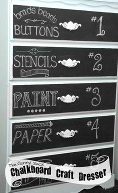 Chalkboard Art Dresser: A Craft Supply Storage Solution
