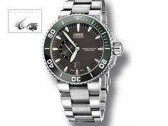 Oris Aquis Small Second Date Watch, Oris 743, Black/Green, Steel Brace | Iguana Sell