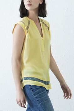 All | Yellow Mesh Insert Crepe Top | Warehouse