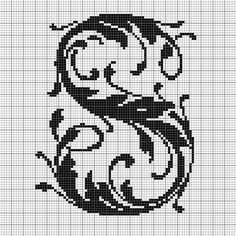 alphabet Y leafy glade Crochet Alphabet, Cross Stitch Alphabet Patterns, Embroidery Alphabet, Paper Embroidery, Cross Stitch Borders, Cross Stitch Charts, Cross Stitching, Alphabet Charts, Blackwork Embroidery