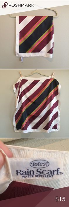 """Vintage Totes Water Repellant Striped Scarf Such great colors in this vintage scarf!  Diagonal stripes of cream, burgundy, black, hot pink, gold and olive green. This scarf is circa 1975 by Totes and is tagged as being water repellent. Perfect for wrapping up your hair in a rainstorm!  Measures approx 27"""" square. One small discoloration to note--please see last pic for reference. All scarves are 2/$15!  Please use the make offer in a bundle feature and I will accept. Vintage Accessories…"""