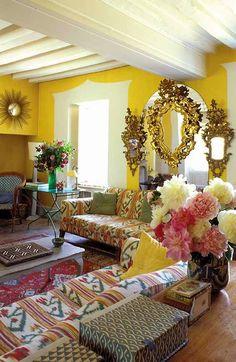 Lou Lou de la Falaise's living room with Mallorcan ikat fabrics French Interior, Best Interior, Home Interior, Interior Decorating, French Apartment, Colourful Living Room, Paris Apartments, Retro Home, Mellow Yellow