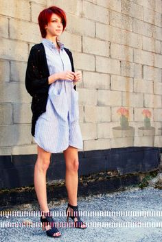 State smock in pinstripe and Mary Meyer drape jacket in galaxy. Both made in New York, NY.