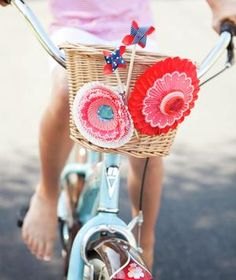 Sharing a bunch of kid bike parade ideas for the of July. Let's hear it for decorated bikes on the of July. Bike Decorations, 4th Of July Decorations, Cupcake Decorations, Flower Decorations, 4th Of July Parade, Fourth Of July, Bike Parade, Kids Bicycle, Bicycle Party