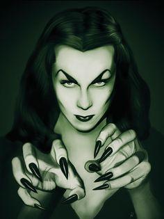 """Elvira"" and ""Vampira"" by Paige Reynolds Female Vampire, Vampire Art, Gothic Horror, Horror Art, Horror Movies, Comedy Movies, Dark Fantasy, Fantasy Art, Disney Pumpkin"