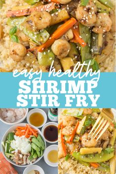 Healthy Shrimp Stir Fry is an easy, quick meal done in under 20 minutes. Use rice or keep it paleo, whole30 and keto / low carb with cauliflower rice! A clean eating dinner everyone will love. The sauce is delicious and works well on noodles too! Easy Meal Prep, Healthy Meal Prep, Easy Healthy Dinners, Quick Meals, Clean Eating Dinner, Clean Eating Recipes, Lunch Recipes, Healthy Dinner Recipes, Shrimp Stir Fry