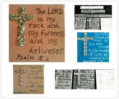 """Sunday School classroom decorating idea: Acrylic on canvas. Bible Verse, with corresponding Modge Podge Cross.  10""""x10"""" canvases with 1"""" wrap edge. Sealed with matte acrylic spray. Used lid tops for acrylic paint to write."""