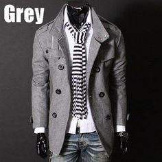 Men's Slim Warm Coat Jacket - Stylish Woolen Double Button