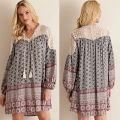 🆕ANNEKE shift dress with lace - MAUVE Border print v-silhouette neckline with tassels shift dress featuring lace on yoke. Lined. Non-sheer. Woven. light weight 100%RAYON 🚨NO TRADE, PRICE FIRM🚨 striped Bellanblue Dresses Long Sleeve