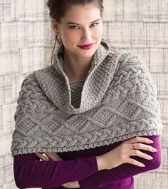 Cowl meets poncho in a stunning Aran piece to wear over your coat or as its own outerwear.