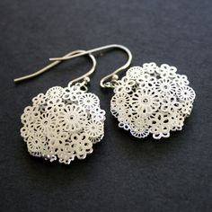 Silver Earrings Filigree Flower by JewelryDeli on Etsy, $18.50