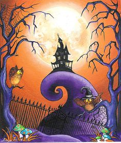 Halloween Haunted House Spooky Wall Art Owls and by AnnyaKaiArt Fete Halloween, Halloween Pictures, Holidays Halloween, Scary Halloween, Vintage Halloween, Halloween Crafts, Happy Halloween, Halloween Decorations, Halloween Fence