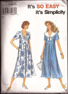Rare 1990s Jumpsuit and Dress Pattern Simplicity by ThimbleWings, $6.95