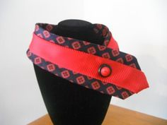 Red and blue women's upcycled necktie