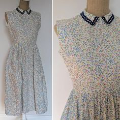 A sweet and lovely summer dress of multi-coloured floral printed cotton. Collar has accent of blue ric tac ribbon. Closure by side metal zipper as well as 2 buttons at nape. Has belt loops but does not come with belt. Size Small. In great vintage condition- there is faint yellowing at the collar and Sarong Dress, 1950s Outfits, Floral Sundress, Embroidered Blouse, Printed Cotton, Beautiful Dresses, Collars, Ready To Wear, Floral Prints
