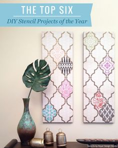 Check out the TOP 6 DIY's of the Year from Royal Design Studio stencils! (including this stenciled Moroccan Wall Art) http://paintandpattern.com/top-6-favorite-diy-stencil-tos-2014/
