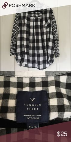 American Eagle Jegging Shirt In excellent condition  Extremely cute oversized flannel. Great for layering.  🚫No Trades 🔺Bundle to save🔻 American Eagle Outfitters Tops Button Down Shirts