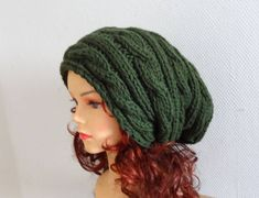 Knit Cable Hat - Autumn Accessories - Slouchy Beanie Hat Oversized Hat - Chunky Knit - Men Slouchy green slouchy knit hat chunky women hat - Advertising Ideas Around The World Knitting For Kids, Easy Knitting, Knitting Ideas, Knitting Patterns, Knitting Scarves, Knitting Projects, Slouchy Beanie, Beanie Hats, Cable Knit Hat