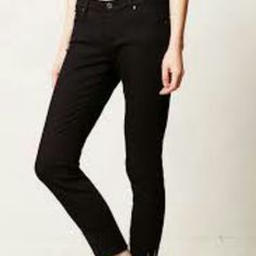 """AG Adriano Goldschmied The Stevie Cuff Slim AG Adriano Goldschmied The Stevie Cuff Slim Straight Cuff Size 25 Womens $168 in Black  Never worn. New without tags   $84.00  vailable only here.  Cotton, elastaneSkinny fitFive-pocket stylingMachine washUSA   27.5"""" inseam8"""" mid rise Anthropologie Jeans"""