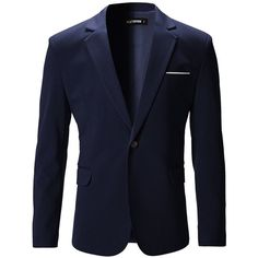 FLATSEVEN Mens Slim Fit Casual Premium Blazer Jacket at Amazon Men's... (117,740 KRW) via Polyvore featuring men's fashion, men's clothing, men's sportcoats, mens sport blazers, mens slim blazer, mens clothing, mens sports blazers and men's apparel