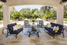 Corsica Cushion collection with love seat, sofa, and lounge chairs.