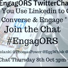 #TwitterChat today 15.00 #BST with @eggwhisk @thomaspower @craig_vallis #EngagORS
