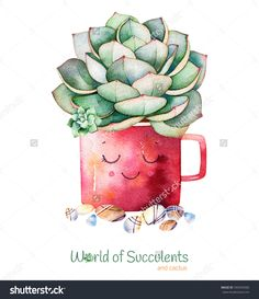 Watercolor handpainted succulent plant in pot and pebble stone. Watercolor Cactus, Watercolor Pattern, Watercolor Background, Watercolor Paintings, Acrylic Paintings, Kaktus Illustration, Watercolor Illustration, Succulents Drawing, Planting Succulents